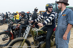 Grant Peterson of Born Free chats with the Race of Gentlemen promoter Bobby Green at TROG West - The Race of Gentlemen. Pismo Beach, CA, USA. Saturday October 15, 2016. Photography ©2016 Michael Lichter.