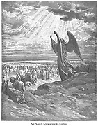 An Angel Appearing to Joshua Joshua 5:9-15 From the book 'Bible Gallery' Illustrated by Gustave Dore with Memoir of Dore and Descriptive Letter-press by Talbot W. Chambers D.D. Published by Cassell & Company Limited in London and simultaneously by Mame in Tours, France in 1866