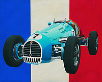 The 1952 Gordini T16 Grand Prix is a fun racing car from the 1950s; Gordini is regularly associated with the brands Renault and the former Simca. Typical French is the Gordini; Small, beautiful of design and a powerful engine. Just for fun you would like to have this Gordini to tour on secluded roads.<br /> <br /> This painting of the Gordini T16 Grand Prix from 1952 in front of the French flag can be purchased in various sizes and printed on canvas as well as wood and metal. You can also have the painting finished with an acrylic plate over it which gives it more depth.<br /> <br />  -<br /> BUY THIS PRINT AT<br /> <br /> FINE ART AMERICA<br /> ENGLISH<br /> https://janke.pixels.com/featured/gordini-t16-grand-prix-1952-with-french-flag-jan-keteleer.html<br /> <br /> <br /> WADM / OH MY PRINTS<br /> DUTCH / FRENCH / GERMAN<br /> https://www.werkaandemuur.nl/nl/shopwerk/Gordini-T16-Grand-Prix-1952-met-Franse-vlag/661132/132?mediumId=15