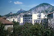 Housing on hillsides, Rio de Janeiro, Brazil 1962 view towards Christ the Redeemer statue