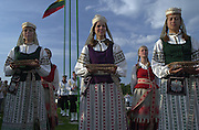 Trakai, LITHUANIA. Local presentation Party, dressed  in Traditional costume.  2002 Junior World Rowing Championships, on Lake Galva Wednesday  07/08/2002 [Mandatory Credit: Peter Spurrier/ Intersport Images] 200208 Junior World Rowing Championships, Trakai, LITHUANIA
