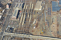 New Haven Rail Yard, Independent Wheel True Facility CONNDOT Project # 0300-0139, New Haven CT. Including New Haven Union Station and Track System adjacent to Yard..Aerial Photograph of Construction Progress on 22 February 2012.