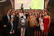 Stags and Hinds players celebrate with the Plunket Shield, Hallyburton Johnstone Shield, and the Burger King Super Smash trophy, Central Districts Cricket Awards Dinner, The Old Church, Napier, Friday, March 22, 2019. Copyright photo: Kerry Marshall / www.photosport.nz