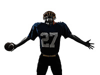 one  american football player man triumphant in silhouette studio isolated on white background