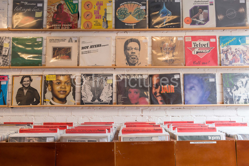 Many combinations of vinyl on sale at Love Vinyl record shop in Shoreditch on the 29th March 2018 in London, United Kingdom. photo by Sam Mellish / In Pictures via Getty Images