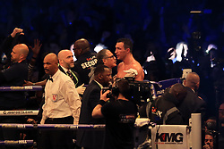 29 April 2017 - Boxing - Anthony Joshua v Wladimir Klitschko (IBF and WBA heavyweight) - A dejected Klitschko after the defeat - Photo: Marc Atkins / Offside.