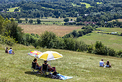 Licensed to London News Pictures. 18/07/2021. Dorking, UK. Picnickers enjoy the scorching sunshine on Box Hill in Surrey today as weather forecasters predict a very warm and dry Weekend with highs of over 32c in the south East with the warm weather lasting for up to two weeks. Photo credit: Alex Lentati/LNP