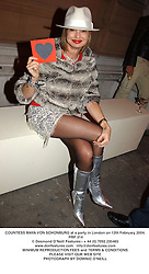 COUNTESS MAYA VON SCHONBURG at a party in London on 12th February 2004.PRP 314