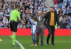 March 3, 2019 - San Sebastian, Guipuzcoa, Spain - Ilarra of Real Sociedad and the actor Jesus Vidal during La Liga Spanish championship, , football match between Real Sociedad and Atletico de Madrid , March 03th, in Anoeta Stadium in San Sebastian, Spain. (Credit Image: © AFP7 via ZUMA Wire)