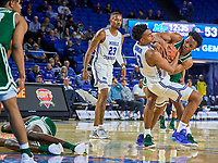 Middle Tennessee Blue Raiders guard Jayce Johnson (13) fights for the ball during the UAB Blazers at Middle Tennessee Blue Raiders college basketball game in Murfreesboro, Tennessee, Saturday, February, 15, 2020. Middle lost 79-66.<br /> Photo: Harrison McClary/All Tenn Sports