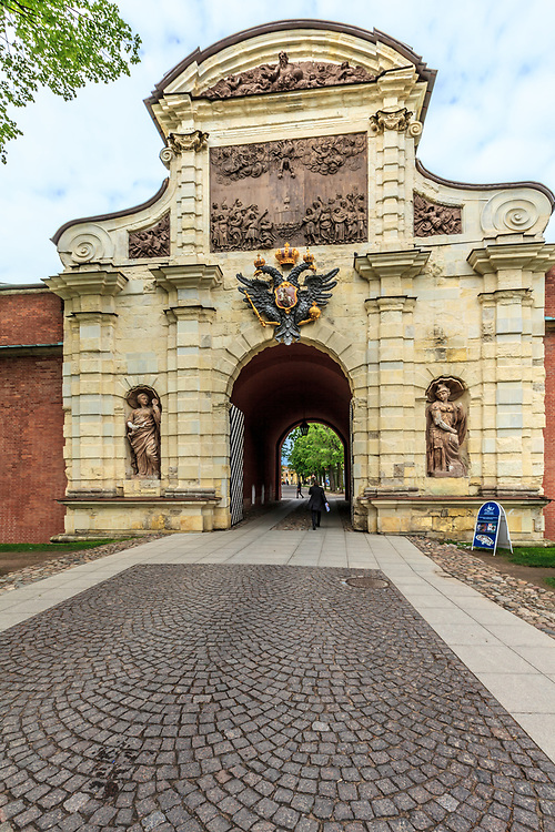 St. Peter's Gate in the Peter and Paul Fortress in St Petersburg, Russia. The gate features the Romanov double eagle.