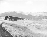 """RGS snowshed at Lizard Head viewed toward the southwest portal before much of it was destroyed by fire in 1939.<br /> RGS  Lizard Head, CO  Taken by Barriger, John W. III - 7/3/1938<br /> In book """"RGS Story, The Vol. IV: Over the Bridges? Ophir Loop to Rico"""" page 267<br /> Also at RDS078-007.<br /> Thanks to Don Bergman for additional information."""