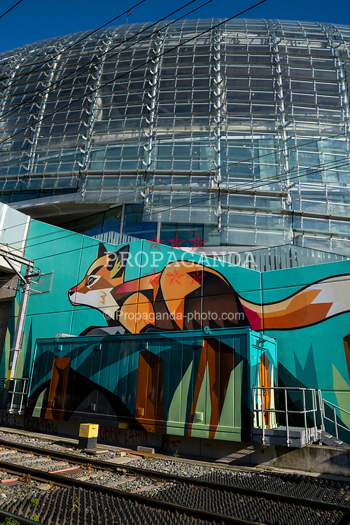 DUBLIN, REPUBLIC OF IRELAND - Sunday, October 11, 2020: A fox painted on a wall outside the Aviva Stadium pictured before the UEFA Nations League Group Stage League B Group 4 match between Republic of Ireland and Wales. (Pic by David Rawcliffe/Propaganda)