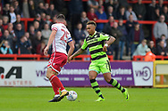Forest Green Rovers Keanu Marsh-Brown(7) takes on Stevenage Defender, Ronnie Henry (25) during the EFL Sky Bet League 2 match between Stevenage and Forest Green Rovers at the Lamex Stadium, Stevenage, England on 21 October 2017. Photo by Adam Rivers.