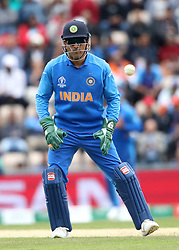 India wicket keeper MS Dhoni during the ICC Cricket World Cup group stage match at the Hampshire Bowl, Southampton.