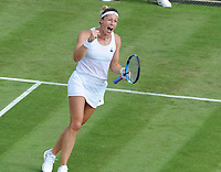 Tennis - 2019 Wimbledon Championships - Week One, Tuesday (Day Two)<br /> <br /> Women's Singles, 1st Round: Maria Sharapova (RUS) v Pauline Parmentier (FRA)<br /> <br /> Pauline Parmentier celebrates on Court 2<br /> <br /> COLORSPORT/ANDREW COWIE