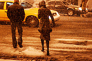 February 11th 2006. New York, New York. United States..A record-breaking snow storm doesn't deter New Yorkers from going out in the Meatpacking district on a Saturday night.