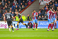 Billy Clarke of Bradford City (17) scores a goal and celebrates to make the score 0-1 during the EFL Sky Bet League 1 match between Scunthorpe United and Bradford City at Glanford Park, Scunthorpe, England on 27 April 2019.