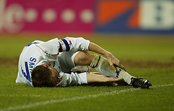 TEPLICE, CZECH REPUBLIC - Wednesday, April 30, 2003: Czech Republic's and Liverpool's Vladimir Smicer in agony with an injury to his left foot picked up in action against Turkey during a friendly match at the Teplice Stadion Na Stinadlech. (Pic by David Rawcliffe/Propaganda)