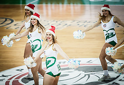 Green Ladies, Cheerleaders of Petrol Olimpija perform during basketball match between KK Petrol Olimpija and Promitheas Patras in Round #9 of FIBA Basketball Champions League 2018/19, on December 18, 2018 in Arena Stozice, Ljubljana, Slovenia. Photo by Vid Ponikvar / Sportida