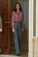110416 Queen Letizia attends audience at Zarzuela Palace