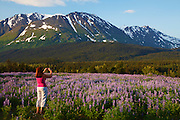 Visitor takes a photo with an iPhone, Chugach National Forest, Alaska.  (model released)