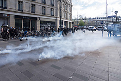 April 2, 2017 - Paris, France - The Chinese community gets involved in a violent protest against police brutality as others gather at Place de la Republique in Paris, France on April 2, 2017 to mourn the death of Shaoyao Liu during a police intervention last week. The people cried for justice and truth over the death of the 56-year-old father. There have been rallies in Paris for the past week over the issue, with many police/protester clashes. (Credit Image: © Julien Mattia/NurPhoto via ZUMA Press)
