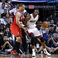 08 March 2011: Portland Trail Blazers shooting guard Brandon Roy (7) defends on Miami Heat power forward Chris Bosh (1) during the Portland Trail Blazers 105-96 victory over the Miami Heat at the AmericanAirlines Arena, Miami, Florida, USA.