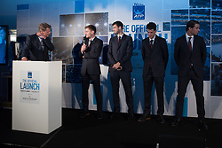 November 9, 2017 - London, England, United Kingdom - David Goffin of Belgium, Grigor Dimitrov of Bulgaria, Dominic Thiem of Austria and Rafael Nadal of Spain talk with Andrew Castle during the The Official Launch ATP Finals at Tower of London on November 9, 2017  (Credit Image: © Alberto Pezzali/NurPhoto via ZUMA Press)