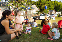 Families joined at Sanborn Park in Laconia for National Night Out Tuesday evening.  (Karen Bobotas/for the Laconia Daily Sun)