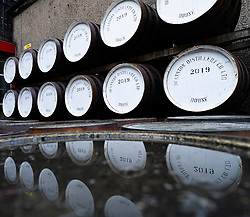 Whisky barrels at Deanston Distillery in Doune, Scotland, UK