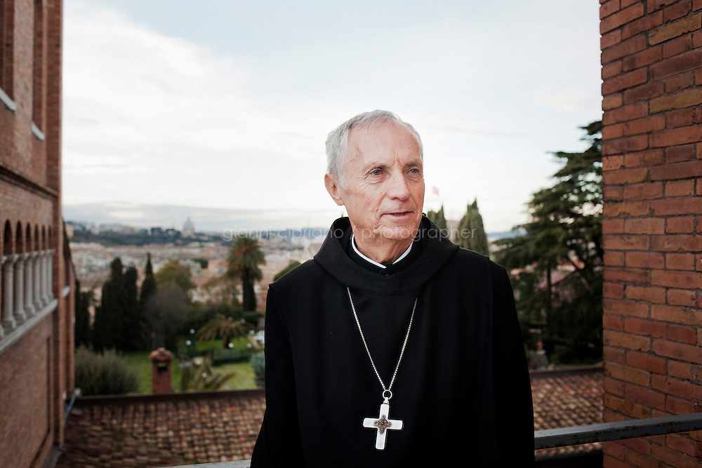 ROME, ITALY - 14 MARCH 2013: Notker Wolf, 72, abbot primate of the Benedictine Confederation of the Order of Saint Benedict, poses for a portrait on the terrace of the Collegio Sant'Anselmo in Rome, Italy, on March 14, 2013...On March 12, 2013, the 115 cardinals entered the conclave to elect a successor to Pope Benedict XVI after he became the first pope in 600 years to resign from the role. The conclave will take place inside the Sistine Chapel and will be attended by 115 cardinals as they vote to select the 266th Pope of the Catholic Church.