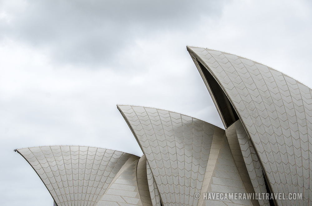 Side view of the distinctive sails of the roof of the Sydney Opera House, situated prominently in Sydney Harbour, Sydney, Australia.