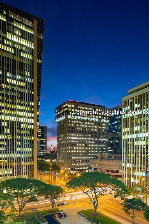 Twilight, Downtown, Honolulu, Oahu, Hawaii