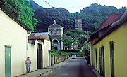 View up Albert Street to the Cathedral of the Immaculate Conception Victoria Mahe Seychelles