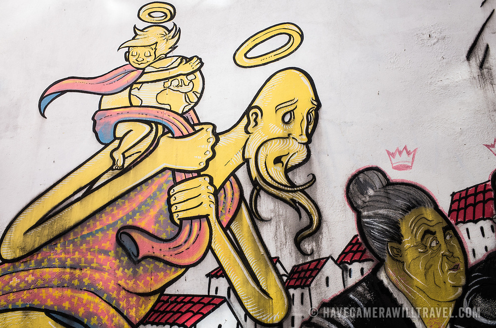 LISBON, Portugal - Samples of graffiti and street art on the streets of Lisbon, Portugal.
