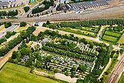 Nederland, Noord-Holland, Amsterdam, 29-06-2018; Spaarndammerdijk, Begraafplaats Sint Barbara<br /> Sint Barbara cemetery.<br /> <br /> luchtfoto (toeslag op standard tarieven);<br /> aerial photo (additional fee required);<br /> copyright foto/photo Siebe Swart