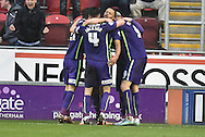 Charlton celebrate Igor Vetokele of Charlton Athletic scoring to go 2-1 up  during the Sky Bet Championship match between Rotherham United and Charlton Athletic at the New York Stadium, Rotherham, England on 30 January 2016. Photo by Ian Lyall.