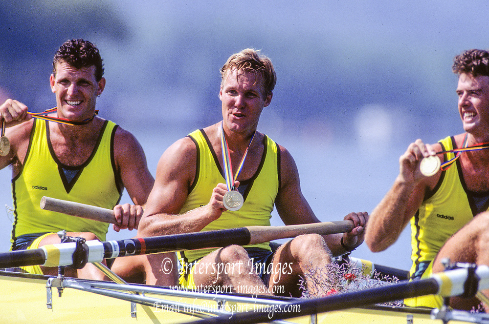 Barcelona Olympics 1992 - Lake Banyoles, SPAIN, Gold Medallist, AUS M4- [Oarsome Foursome] left to Right, Andrew  COOPER, Mike MCKAY and  Nick GREEN[Mandatory Credit; Peter SPURRIER; Intersportsport Images]