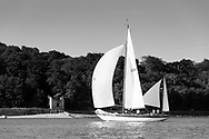 Barney Sanderman's yawl Laughing Gull competing in Cowes during the Panerai British Classic Sailing Week regatta. <br /> Picture date: Monday July 10, 2017.<br /> Photograph by Christopher Ison ©<br /> 07544044177<br /> chris@christopherison.com<br /> www.christopherison.com