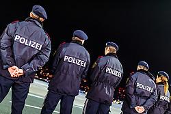 THEMENBILD - Rückenansicht von männlichen Polizisten und einer Polizistin die in einer Reihe stehen, aufgenommen am 23. Feber 2017 in Innsbruck, Österreich // Back view of male and one female police officers standing in a row, Innsbruck, Austria on 2017/02/23. EXPA Pictures © 2017, PhotoCredit: EXPA/ JFK