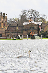 © Licensed to London News Pictures. 30/04/2012. BADMINTON, UNITED KINGDOM. A General view of Badminton House after The 2012 Mitsubishi Motors Badminton Horse Trials was cancelled this morning due to poor ground conditions. The event, which was a key qualifier for the 2012 London Olympic Games, has been called off because of large areas of standing surface water and worries about the going of the Cross Country track. Photo credit: Mark Chappell/LNP
