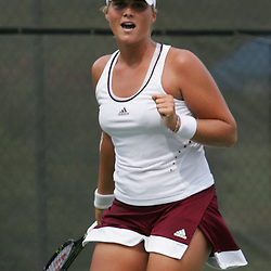 Carly Gullickson of the United States celebrates her win over Margalita Chakhnashvili of the country of Georgia during the finals of singles competition at the AT&T $25,000 Challenger USTA Pro Women's Tennis Circuit Tournament played on March 30, 2008 at Oak Knoll Country Club in Hammond, LA. Gullickson defeated Margalita in three sets 6-4, 4-6, 6-4 to win the AT&T 25K Challenger...