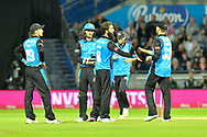 Wicket - Moeen Ali of Worcestershire celebrates taking the wicket of David Wiese of Sussex during the final of the Vitality T20 Finals Day 2018 match between Worcestershire Rapids and Sussex Sharks at Edgbaston, Birmingham, United Kingdom on 15 September 2018.