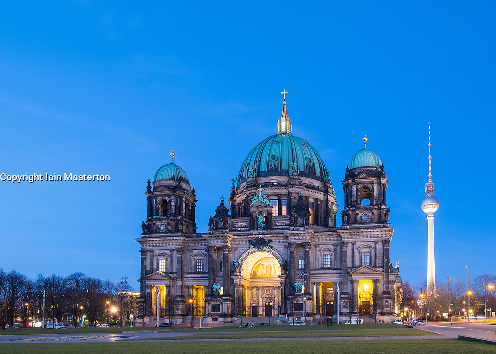 View of Berlin Cathedral ( Berliner Dom) at night in Mitte Berlin, Germany.
