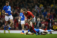 Hadleigh Parkes of Wales runs in to score his teams 1st try. Wales v Italy , NatWest 6 nations 2018 championship match at the Principality Stadium in Cardiff , South Wales on Sunday 11th March 2018. pic by Andrew Orchard, Andrew Orchard sports photography