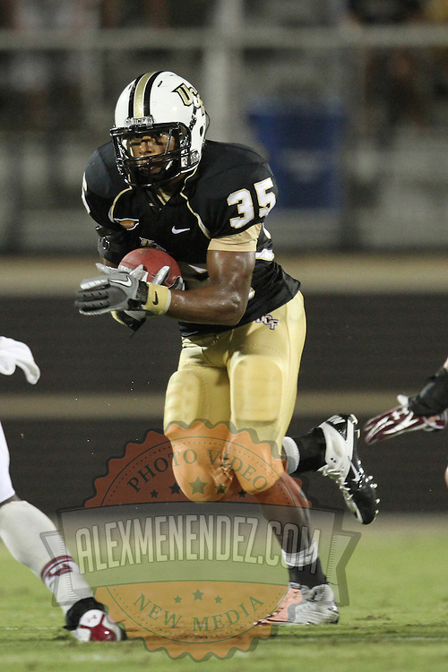 Central Florida running back Ronnie Weaver (35) during an NCAA football game between the Boston College Eagles and the UCF Knights at Bright House Networks Stadium on Saturday, September 10, 2011 in Orlando, Florida. (AP Photo/Alex Menendez)