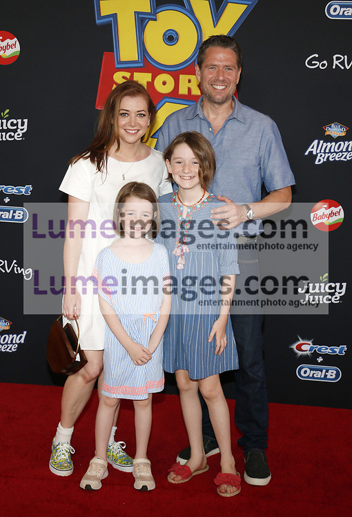 Alyson Hannigan, Alexis Denisof, Satyana Marie Denisof and Keeva Jane Denisof at the World premiere of 'Toy Story 4' held at the El Capitan Theater in Hollywood, USA on June 11, 2019.