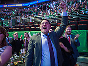 01 NOVEMBER 2019 - DES MOINES, IOWA: People cheer for Elizabeth Warren at the Liberty and Justice Celebration in the Wells Fargo Arena in Des Moines. The Liberty and Justice Celebration is a fund raiser for the Iowa Democratic Party. Many of the Democratic candidates for the US presidency spoke at the 2019 Celebration. Iowa holds the first presidential selection event of the 2020 election cycle. The Iowa Caucuses are Feb. 3, 2020.PHOTO BY JACK KURTZ