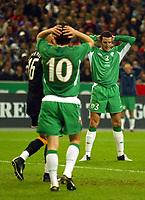 Fotball<br /> VM-kvalifisering<br /> 09.10.2004<br /> Foto: BPI/Digitalsport<br /> NORWAY ONLY<br /> <br /> Frankrike v Irland 0-0<br /> <br /> John O'Shea can't believe his shot went wide